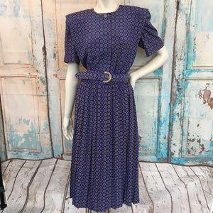 VINTAGE LESLIE FAY Blue Printed Pleated Dress